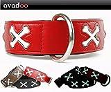 avadoo® Hundehalsband Leder Reflektierend mit Knochen aus beschichtetem Spaltleder Design CUCA Rot, Größe M 42-52cm