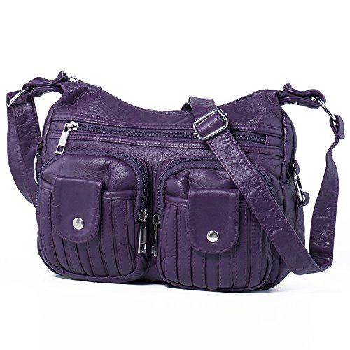Hengying Elegant PU Leder Damen Kleine Umhängetasche Schultertasche Hobo Tasche Handtaschen mit Viele Fächer für Alltags Gebrauch Reisen Einkaufen, Lila (Zip Leder Top Umhängetasche)