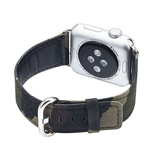 Cuitan Langlebig Leinwand Uhrenarmband für 42mm Apple Watch iWatch, mit Adapter Ersatzband Uhrband Watch Strap Wrist Band Armband Watchband für Apple Watch (Nicht enthalten Uhren) - 6