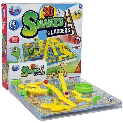 3D SNAKES AND LADDERS BOARD GAME FUN FAMILY XMAS KIDS TOYS GIFT TRADITIONAL NEW - Ladders Snakes