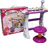 Keyboard mit Mikrofon und Hocker, Standkeyboard, Keybord Kinder Piano Keyboard Spielzeug Klavier Kleinkind Musikinstrument - Pink
