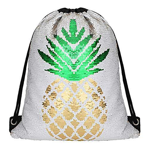 Phogary Pailletten Rucksack mit Kordelzug - Farbe Verwandeln Mermaid Tasche Mode Sporttasche Glitzer, Gutes Geschenk für Junge, Mädchen, Teenager, Paar (Goldananas Stil)
