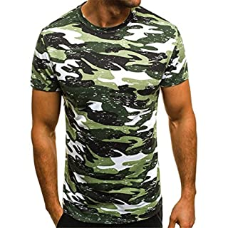 AmazingDays Men's Fashion Men Muscle T-Shirt Slim Casual Fit Short Sleeve Camouflage Blouse Tops (M, Green)