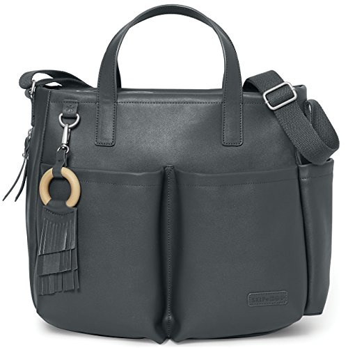 Skip Hop Greenwich Wickeltasche, Tragetasche mit eleganten Details, mit Wickelunterlage, schwarz