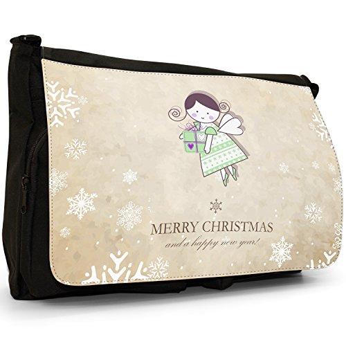 Natale e Anno Nuovo Wishes–Borsa Tracolla Tela Nera Grande Scuola/Borsa Per Laptop Fairy Bringing Present