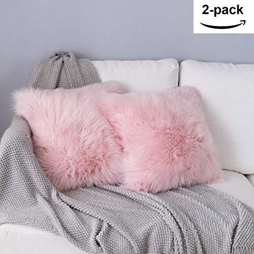 ydfyx federa cuscino,in lana artificiale fodera per cuscino, super soft fodera per cuscino in pelle deluxe home decor decorativo camera da letto federa divano (2pcs rosa, 45x45 cm)