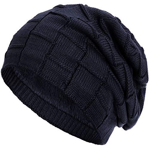 Compagno warm gefütterte Beanie Wintermütze Flechtmuster unifarben oder meliert Einheitsgröße Mütze, Farbe:Marineblau