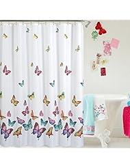 Mariposas volar Imprimir Decoración mágica cortina de ducha Set