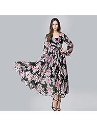 GWCSS Flores Puestas En Un Gran Vestido De Gasa De Manga Larga Xl , Black , Xxxl