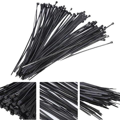 100 piezas de Nylon plástico ataduras Zip abrigo del alambre correa.