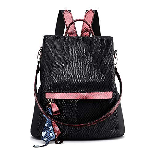 SimpleLife Frauen Pailletten Rucksack Mode Rucksack wasserdichte Nylon Diebstahl Schule Bookbag Umhängetasche