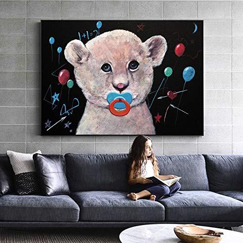 Hechuyue Nordic Bear Poster und Drucke Cartoon Bär Baby Leinwand Moderne Wandkunst Wandmalerei Kinderzimmer Wanddekoration Malerei Wandbild Rahmenlose Malerei 30x45cm