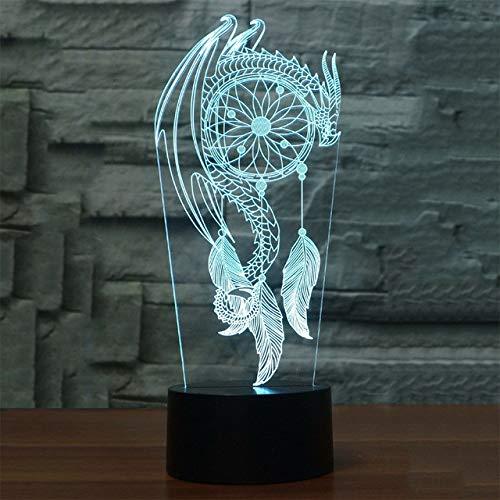 Veilleuse 3D 3D Led Carillons De Vent Lampe De Table Lampe Kid Touch Commutateur Capteur de rêves Forme Veilleuses Nuit Usb Chambre Sommeil Éclairage Luminaria Home Decor