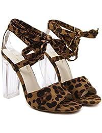 Tacones gruesos Talón transparente Leopardo Correas cruzadas Sandalias dama Moda Punta abierta Hueco Ankel Strap Zapatos De Vestir Tamaño 35-40 de la UE , leopard , 35