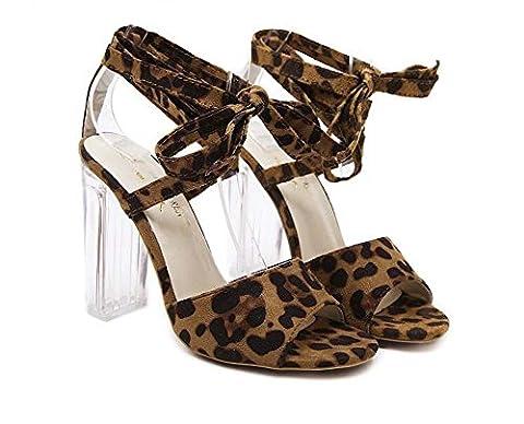 Chunky Heels Talon transparent Léopard Cross Straps Des sandales Dame Mode Sexe Open Toe Creux Ankel Strap Chaussures habillées Eu Taille 35-40 , leopard , 35