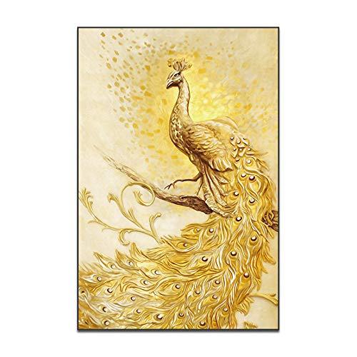 RTCKF Pittura Decorativa Soggiorno Classico Pavone Pittura Pittura murale casa Camera da Letto Stampa su Tela Pittura a Olio Animale Senza Cornice L 50 cm x 75 cm