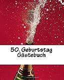 50. Geburtstag Gästebuch: weiß, mit kleiner Feder, 50 Seiten