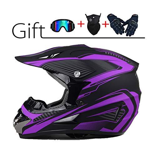 LEENY Motocross-Helm Herren Crosshelm Set mit Brille Handschuhe Maske, Schwarz Lila Motorradhelm Downhill Enduro-Helm ATV MTB BMX-Helm Quad Dirt Bike Motorrad Offroad-Helm für Männer Damen,S