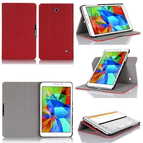Samsung Galaxy Tab 4 8.0 Tasche Leder (Wifi/3G/4G/LTE) Hülle rot Cover mit Stand - Zubehör Etui UltimKaz Tablet PC Samsung Galaxy Tab 4 8 zoll SM-T330/T331/T335 Schutzhülle (PU Leder - Rot Red) - XEPTIO : Exceptional Case ! Vorbestellen