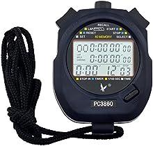 Ckeyin® Digital Profesional Portátil LCD Cronógrafo Temporizador Deportes cronómetro, tres filas de 60 memorias de vuelta contra Correr temporizador