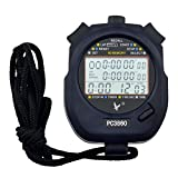 Ckeyin ® Professional Digital Handheld LCD Chronograph Timer Sports Stopwatch, Three-Row 60 Memories Lap counter Running timer
