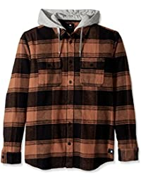DC Shoes Men's Runnel Flannel Hooded LS T Shirt Brown