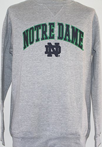 Notre Dame Fighting Irish NCAA Embroidered Crew Men's Sweatshirt - Grey (Notre-dame-sweatshirts)
