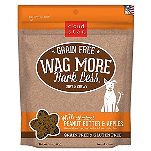 Cloud Star Wag More Bark Less Soft Chewy Grain Free Peanut Butter & Apples, 5 oz