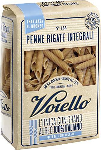 Voiello Pasta Penne Rigate Integrale N.144, Pasta Corta di Semola Grano Aureo 100% - 500 gr
