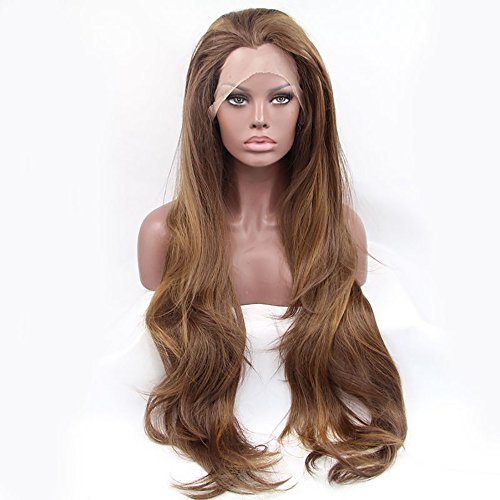 61cm braun Highlight Blond Natürliche gerade synthetische Lace Front Perücken gratis, 180% Dichte Hälfte Hand auf Hitzebeständige Kunstfaser Haar für Frau