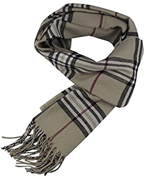 Cat Sister-classic Cashmere Feel Winter Scarf In Rich Plaids (Cream) 0