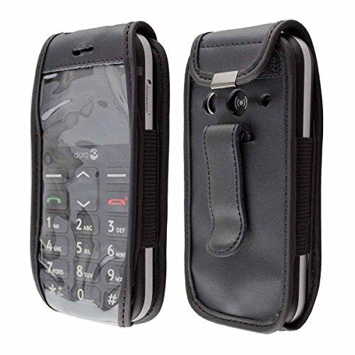 caseroxx Handy-Tasche Ledertasche mit Gürtelclip für Doro 1360/1361 / 1362 aus Echtleder, Handyhülle für Gürtel (mit Sichtfenster aus schmutzabweisender Klarsichtfolie in schwarz)