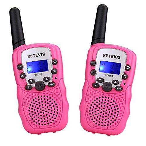 Foto de Retevis RT388 Walkie Talkies Niños PMR446 8 Canales LCD Pantalla Función VOX 10 Tonos de llamada Bloqueo de Canal Linterna Incorporado (Rosa, 1 Par)