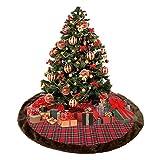 Kenmont Basi e supporti per alberi di Natale Plaid Pelliccia ecologica orlo Rosso Gonna dell'albero di Natale Decorazioni natalizie 44 pollici