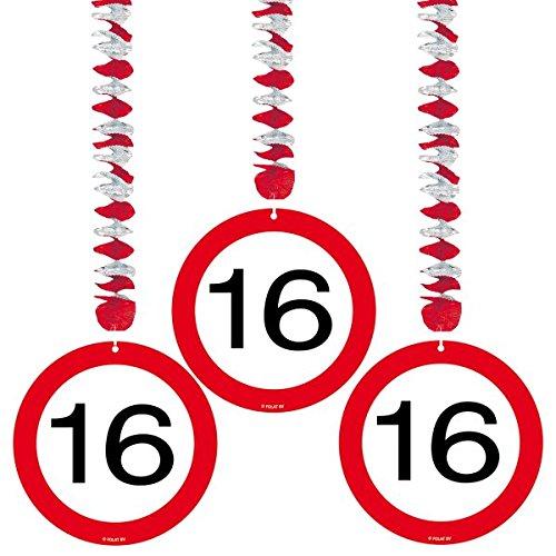 Folat 3 Rotor-Spiralen Zahl 16 Geburtstag Verkehrsschild -