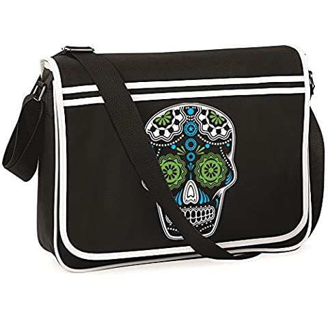 Sugar Skull Retro Messenger Bag Satchel Collage Bag Candy, Day