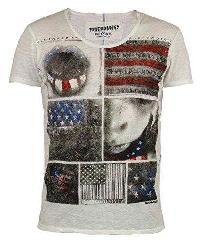 trueprodigy Casual Herren Marken T-Shirt mit Aufdruck, Oberteil cool und stylisch mit Rundhals (kurzarm & Slim Fit), Shirt für Männer bedruckt Farbe: Off White 1053102-8005 Offwhite