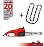 Grizzly Tronçonneuse électrique (avec engrenages en métal, 1800 W, longueur de coupe 35,5 cm, chaîne en métal chromé, système de lubrification continue, décharge de traction, frein de chaine, chaine de remplacement