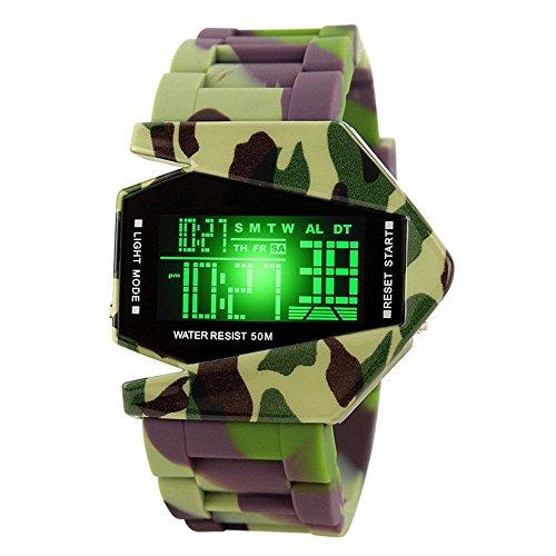 Aolvo, orologio sportivo da uomo, impermeabile, elettronico, digitale, alla moda e creativo, a forma di aeroplano, con luce colorata a LED, Camouflage, Standard
