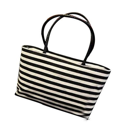 Jamicy Donna estate moda spiaggia a strisce casual shopping Canvas borsa borsa a tracolla Nero
