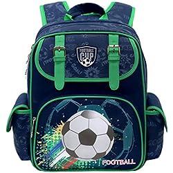 Mochilas escolares niños, bolsos de escuela para niños Mochilas de adolescentes para niños mochilas impermeables para niños, bandolera personalizada Patten para caminar de viaje - Fútbol