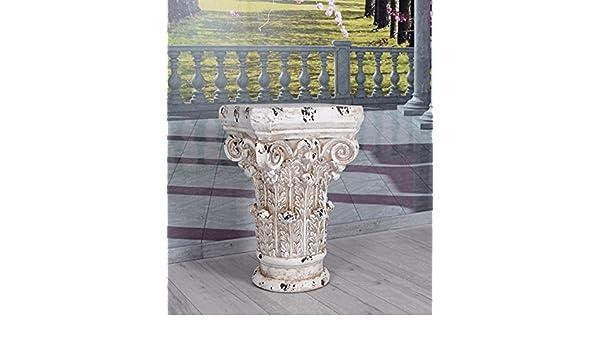 Podest Weiss Dekosäule griechische Säule Pflanzsäule Blumensäule Blumenständer