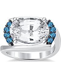 Silvernshine 4Ct Oval & Round Cut Sim Aquamarine Diamonds 18K White Gold Plated Engagement Ring