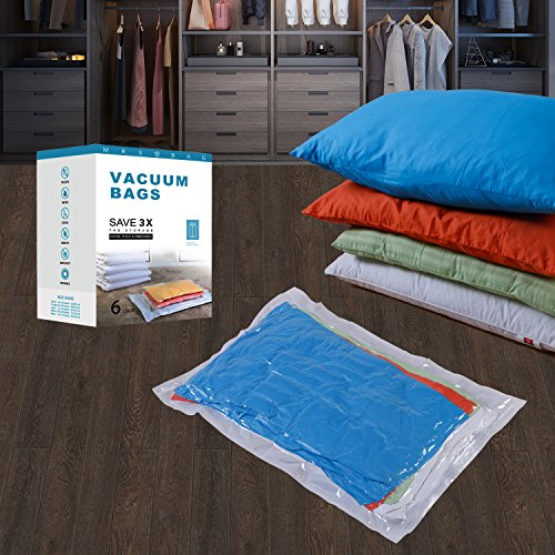 Sacchetti sottovuoto – confezione da 6 jumbo(120*80cm). migliori sacchi isolanti per abiti, piumoni, biancheria da letto, cuscini, coperte, tende