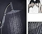 Soffione Doccia a Pioggia Quadrato 8 Pollici con Tubo di Prolunga 1,5M Rotable, Inox Inossidabile Alta Pressione, Doccetta Massaggio Anticalcare Universale per Bagno Parete, Rainfall Shower Head Spray