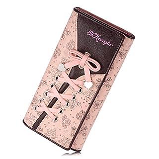 TechSmile Damen Geldbörse Portmonee Leder Lange Brieftasche PU mit Kartenfächer Telefonkasten Mädchen Blumen Schnürsenkel Schuhband Geldbeutel