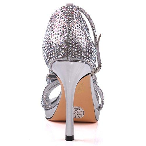 Unze Womens ' Felicia ' sandali Bow accentati a spillo Argento