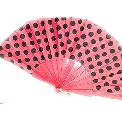 Abanico de plástico y tela rojo a lunares negros diámetro 35cm aprox ideal para carnaval y fiestas