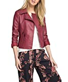 edc by ESPRIT Damen Kunstlederjacke Jacke in Verschiedenen Farben, Gr. 44 (Herstellergröße: XXL), Rot (Garnet Red 620)