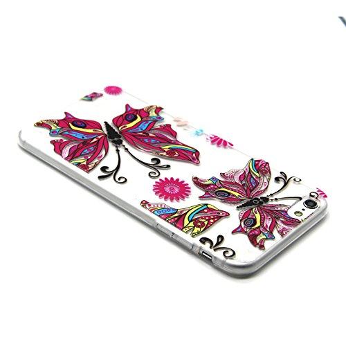 iPhone 5S Case,iPhone 5 Cover - Felfy Apple iPhone 5/5S Ultra Slim Dünnen Weiche Soft Gel romantisch Mond Lichter Liebhaber Muster TPU Silikon Back Bumper Hülle Zurück Tasche Etui Protective + 1x Schw Rosa Schmetterling